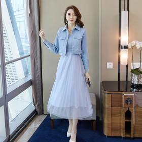 时尚两件套2019秋新款韩版灯芯绒短外套吊带网纱裙