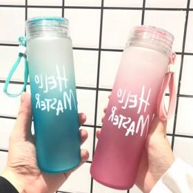 韩版耐热渐变色磨砂玻璃杯大容量便携提绳水杯男女学生