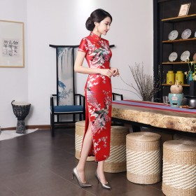 新款旗袍长款绸缎印花日常宴会走秀修身气质女装