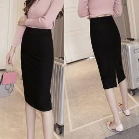包臀中长款半身裙女新款黑色开叉OL工装职业一步裙