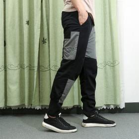 秋冬男士休閑個性小腳褲子青年拼接時尚純棉長褲學生寬