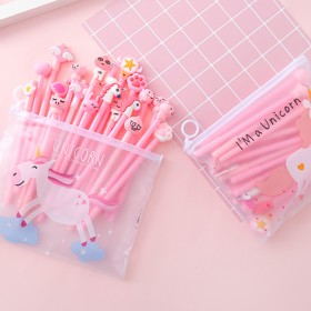20支笔送笔袋 卡通粉色少女中性笔套装男女生都能用