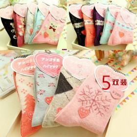 5双女士秋冬兔羊毛袜中筒加厚睡眠袜保暖卡通棉袜子