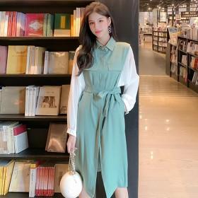 拼接雪纺POLO领长袖连衣裙时尚撞色韩版中长款开叉