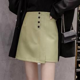 皮裙半身裙不规则牛油果绿a字短裙