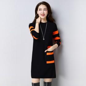 秋季新款时尚中长款宽松版显瘦针织连衣裙长袖打底裙