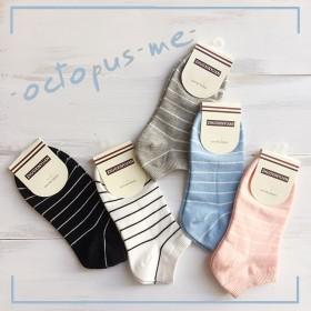 2双女士全棉条纹短袜四季隐形船袜韩国可爱船袜日系运