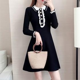 秋季新款小清新修身显瘦针织连衣裙