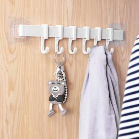 6连挂钩 厨房浴室吸壁式塑料六排钩 卫生间门后墙壁