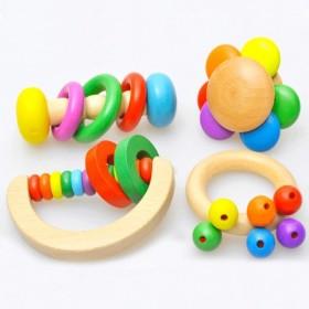 手抓摇铃婴儿可咬摇铃玩具新生婴儿0-1益智串铃铛宝