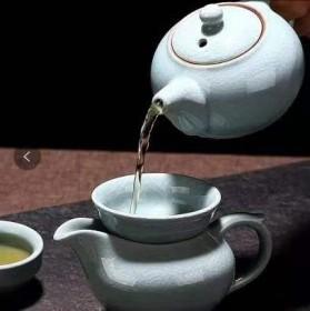茶具套装家用简约现代汝窑开片可养茶壶茶杯办公茶盘功