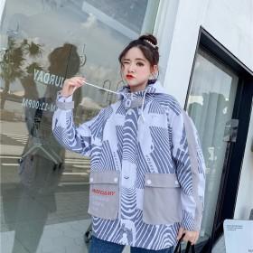 秋季新款女上衣百搭韩版学生大口袋迷彩拼色原宿外套女