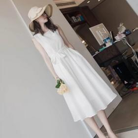 女夏白色系带蕾丝连衣裙长过膝无袖雪纺裙子法式少女小
