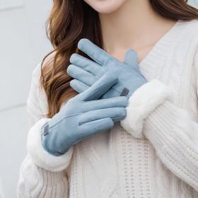 女士麂皮绒手套女秋冬季骑行开车加绒加厚保暖可触屏分