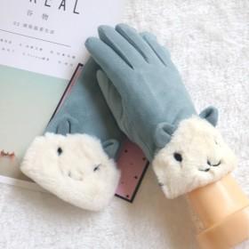 韩版女士秋冬季开骑车保暖触屏麂皮绒甜美可爱学生加绒