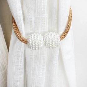 一对窗帘扣磁铁吸力珍珠窗帘绑带免安装窗帘装饰时尚简