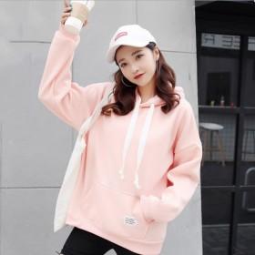 韩版休闲加绒宽松bf慵懒风卫衣2019新款女网红款