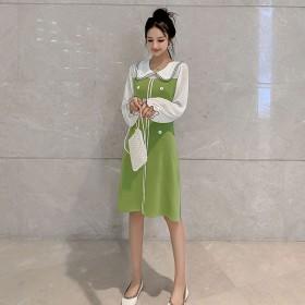 娃娃领针织连衣裙2019新款秋季裙子仙女超仙森系