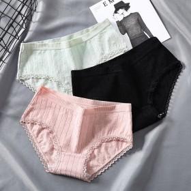 2条装女士内裤女透气全棉纯棉档中腰少女无痕大码蕾丝