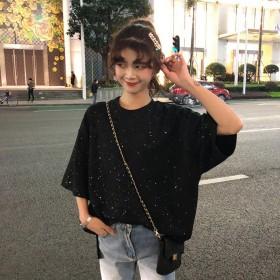 新款韩版闪亮星空女士短袖t恤衣服女潮宽松上衣女装