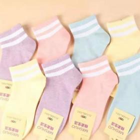 袜子女士韩版糖果色纯色女袜短筒运动袜防臭透气棉袜