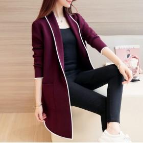 2019冬季新款韩版纯色女中长款宽松长袖外套加绒