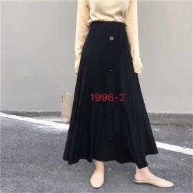 韩版网红高腰单排扣气质大摆针织伞裙中长款半身裙