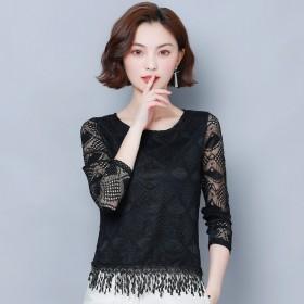 2019新款仙女范蕾丝镂空雪纺衫