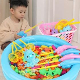 儿童磁性钓鱼玩具池套装小孩戏水捞鱼宝宝小猫鱼竿幼儿