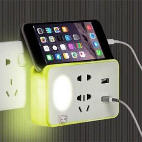usb节能小夜灯床头转换智能插电喂奶带开关手机支架