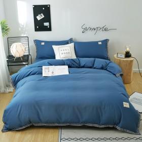 北欧风四件套简约素色宿舍网红款床单被套床上用品单人