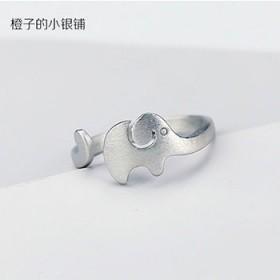 秋季新款s925银女戒创意拉丝磨砂日韩可爱小象戒指