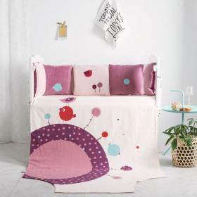 粉色小鸟防摔婴儿床床围边棉儿童拼接床婴儿软包布艺