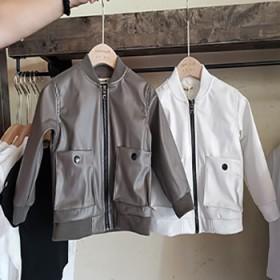 秋装新款儿童春秋皮衣男童长袖皮夹克韩版大口袋上衣