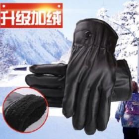 皮手套男秋冬季加绒骑车防风保暖女士通用