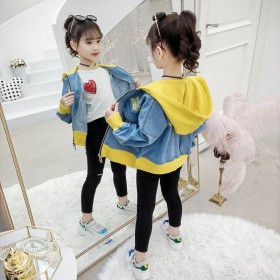 女童牛仔外套春秋2019新款韩版儿童加绒加厚夹克女
