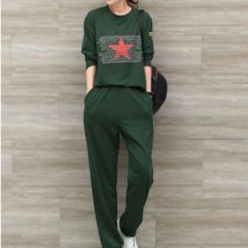 大码女装秋装新款200斤胖妹妹军绿卫衣套装