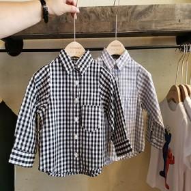 儿童秋装新款长袖格子全棉衬衫