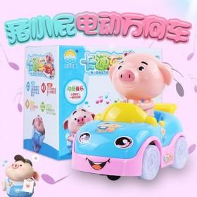 抖音款猪小屁电动玩具车万向轮小汽车音乐灯光儿童玩具
