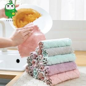 吸水不沾油珊瑚绒抹布厨房清洁加厚去污素色百洁布双面