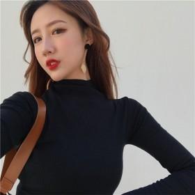 韩版女装纯色高领长袖t恤显瘦套头打底衫百搭时尚上衣