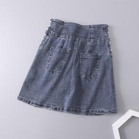 牛仔7106不退换~半身裙女个性绑带水洗19夏新款