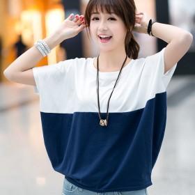 韩版大码女装宽松蝙蝠衫学生女士短袖T恤胖mm女装