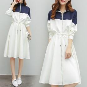 2019秋季大碼女裝時尚洋氣顯瘦中長款連衣裙寬