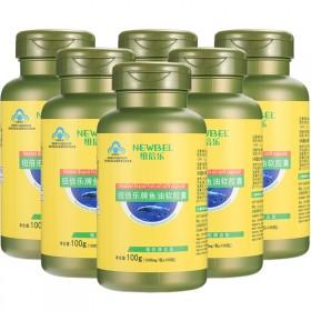 6瓶紐倍樂魚油軟膠囊深海魚油600粒輔助降血脂搭磷