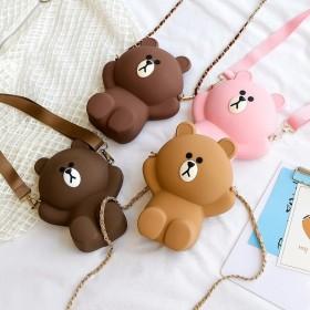 布朗熊链条斜挎包手机袋领钱硅胶亲子小包包卡通