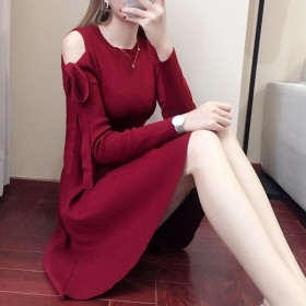 秋冬时尚韩版气质修身连衣裙针织露肩洋气中长款打底裙