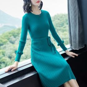 毛衣女中长款洋气针织连衣裙子打底秋装修身秋冬