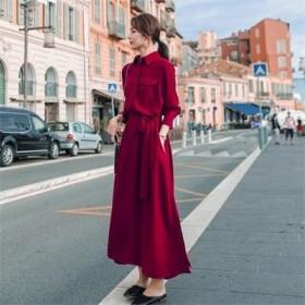 秋新女暗红色连衣裙翻领单排扣长袖长款收腰复古衬衫裙