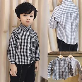 儿童秋款长袖格子衬衫